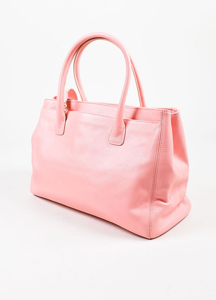 "Chanel Pink and Gold Toned Pebbled Leather 'CC' Turnlock ""Cerf"" Tote Bag Sideview"