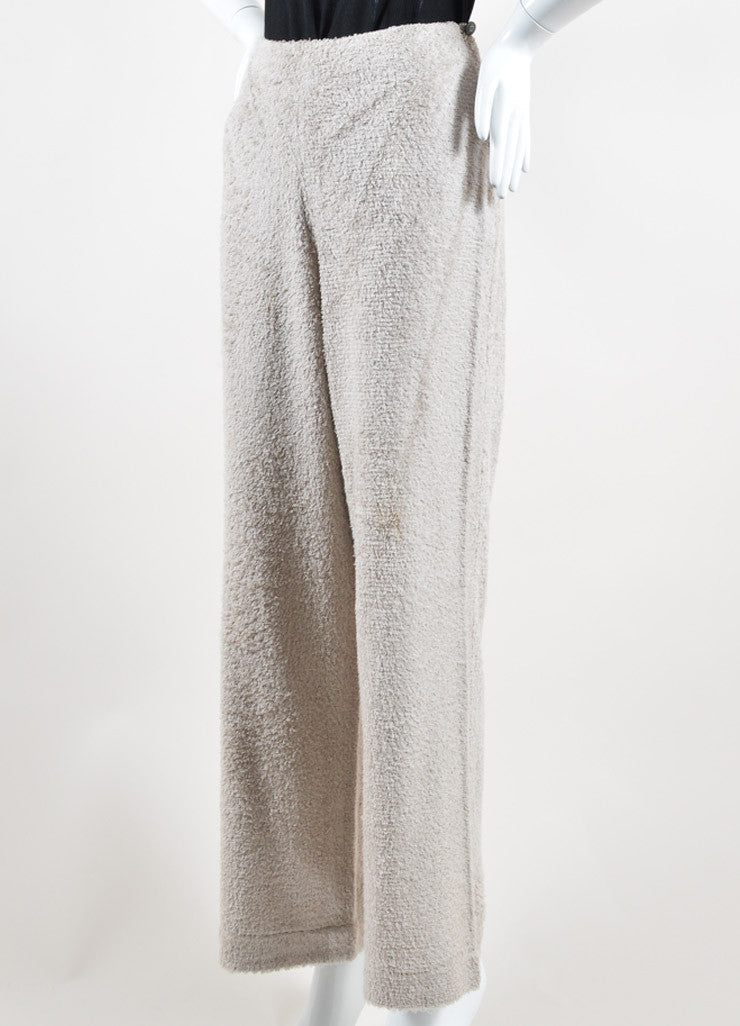 Chanel Taupe Grey Silk Looped Woven Wide Leg High Waisted Pants Sideview