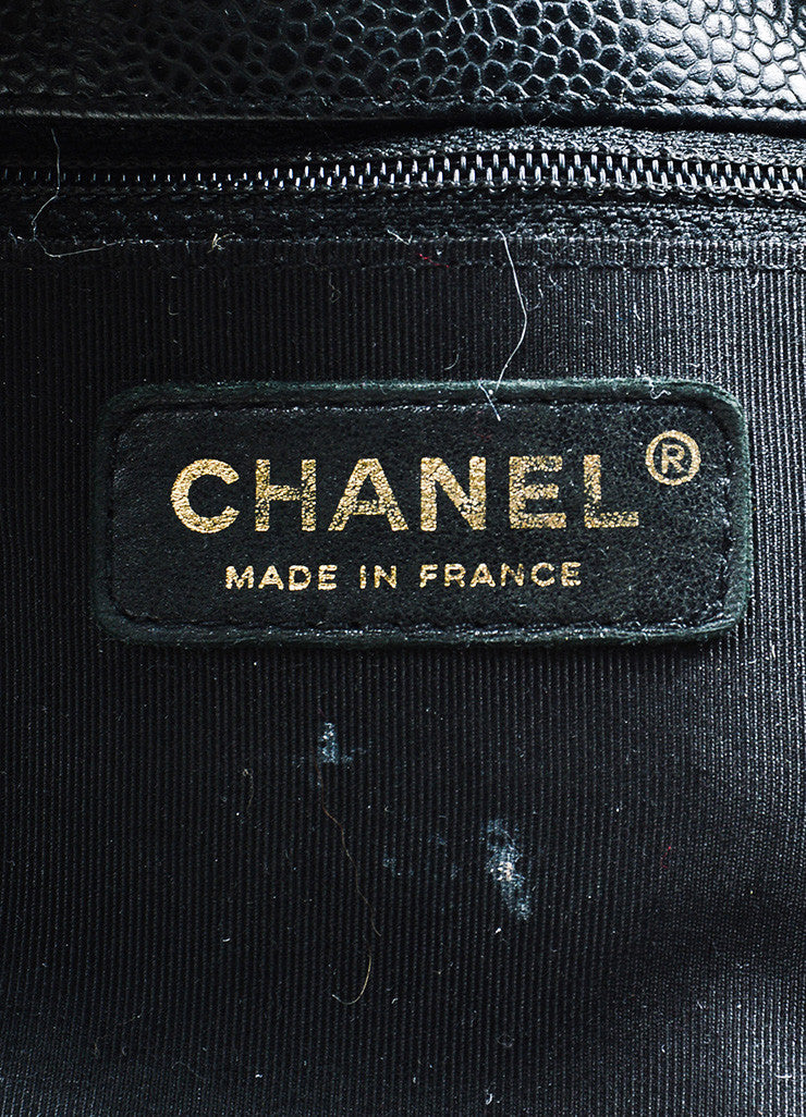 "Black Chanel Caviar Leather Quilted 'CC' Chain Strap ""Petite Shopping"" Tote Bag Brand"