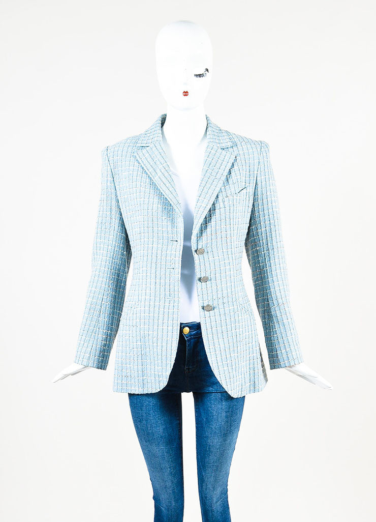 Chanel Light Blue Wool Blend Boucle Tweed Blazer Jacket Frontview