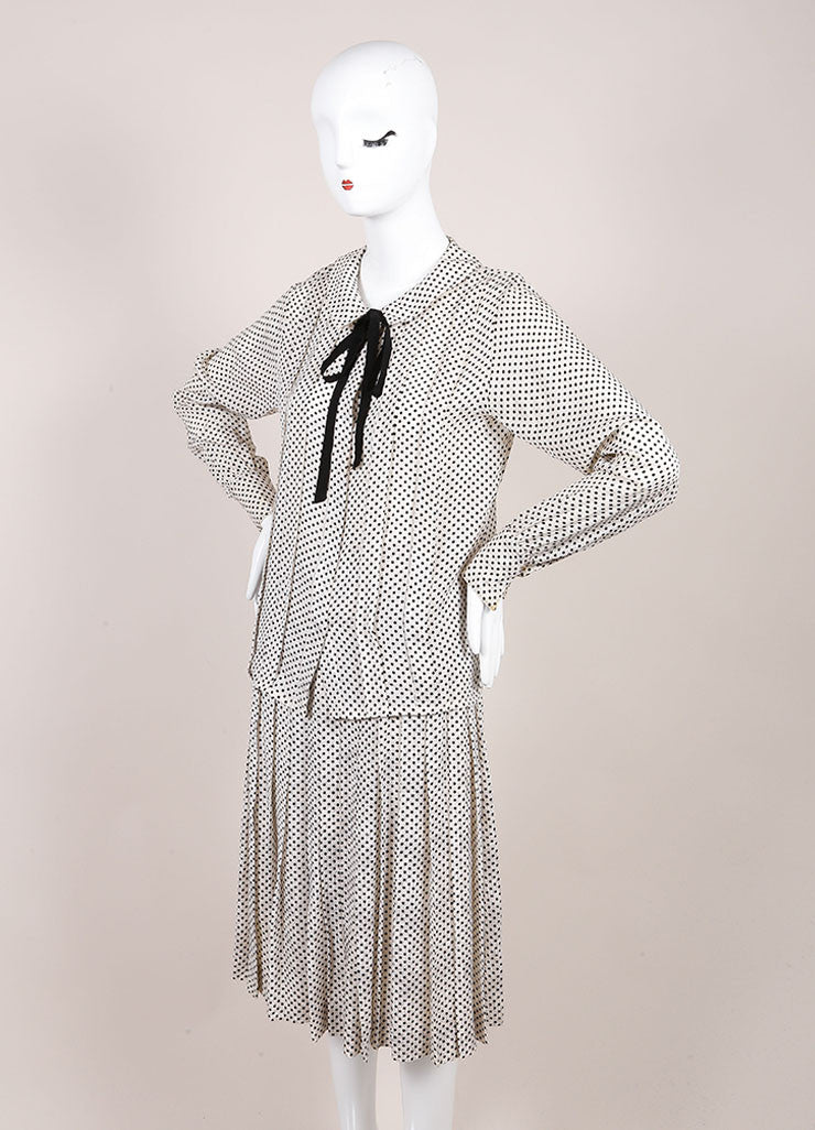 Chanel Cream and Black Silk Jacquard Polka Dot Print Blouse Top, Skirt and Scarf Set Sideview