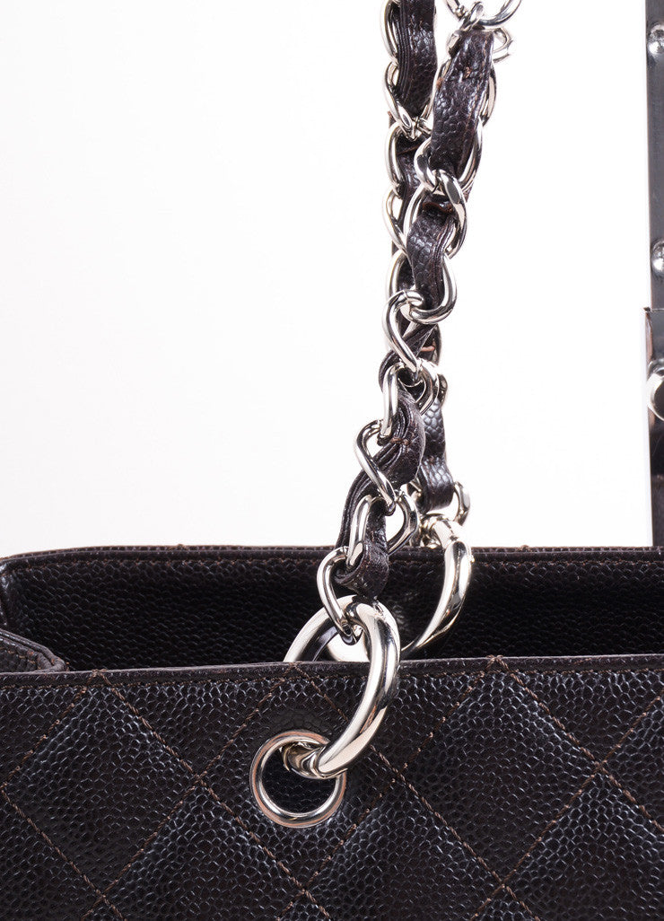 "Chanel Dark Brown Quilted Caviar Leather ""CC"" Chain Strap Grand Shopper Tote Bag Detail 2"