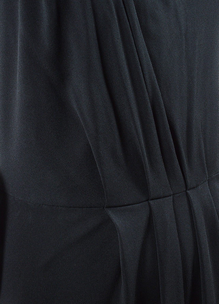 Chanel Black Jersey Pleated Corset Strapless Dress Detail