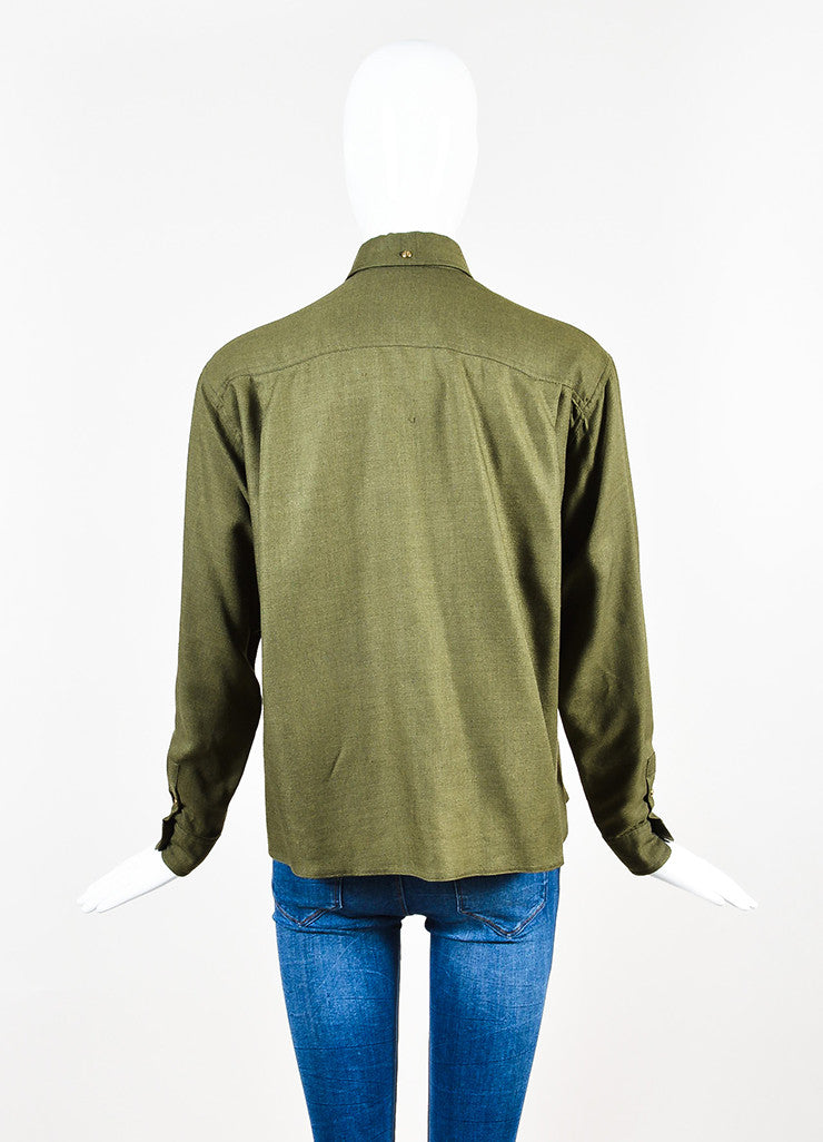 Chanel Olive Green Gold Toned 'CC' Button Long Sleeve Shirt Backview