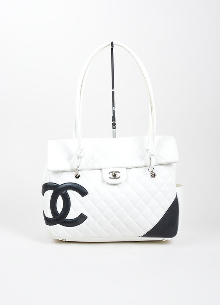 "Chanel White Leather ""Cambon Ligne Flap"" Quilted Tote Front"