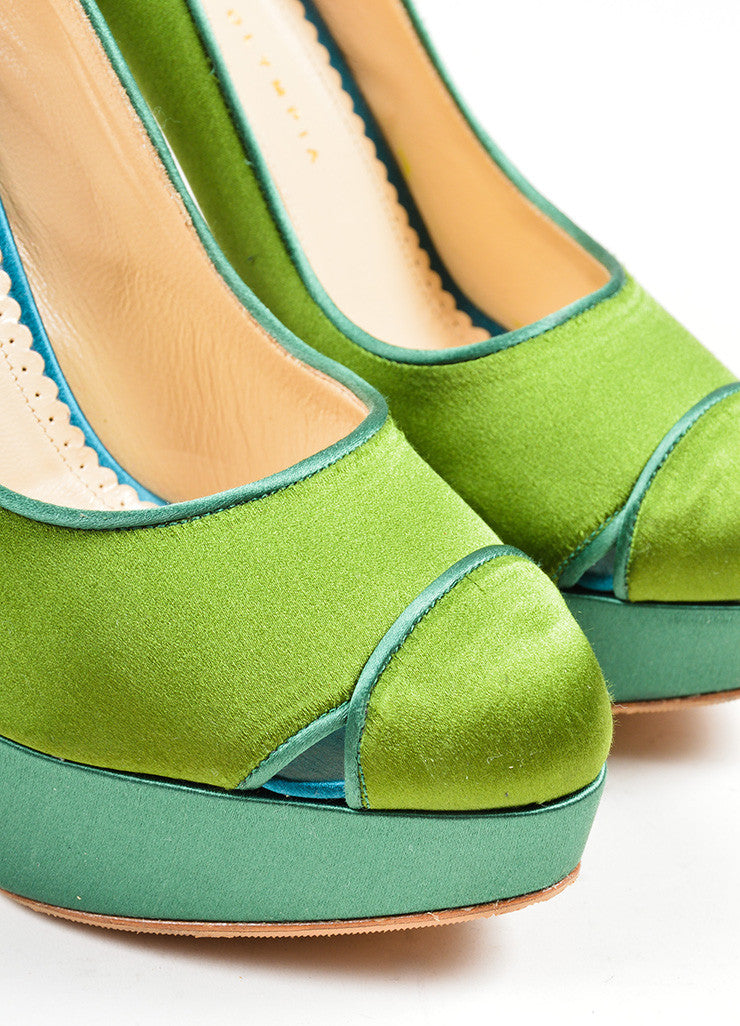 "Green and Teal Charlotte Olympia Satin ""Lais"" High Heel Platform Pumps Detail"