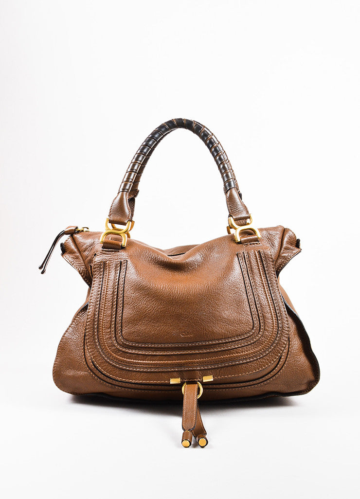 "Chloe Brown and Gold Toned Leather Large Top Handle ""Marcie"" Flap Satchel Bag Frontview"