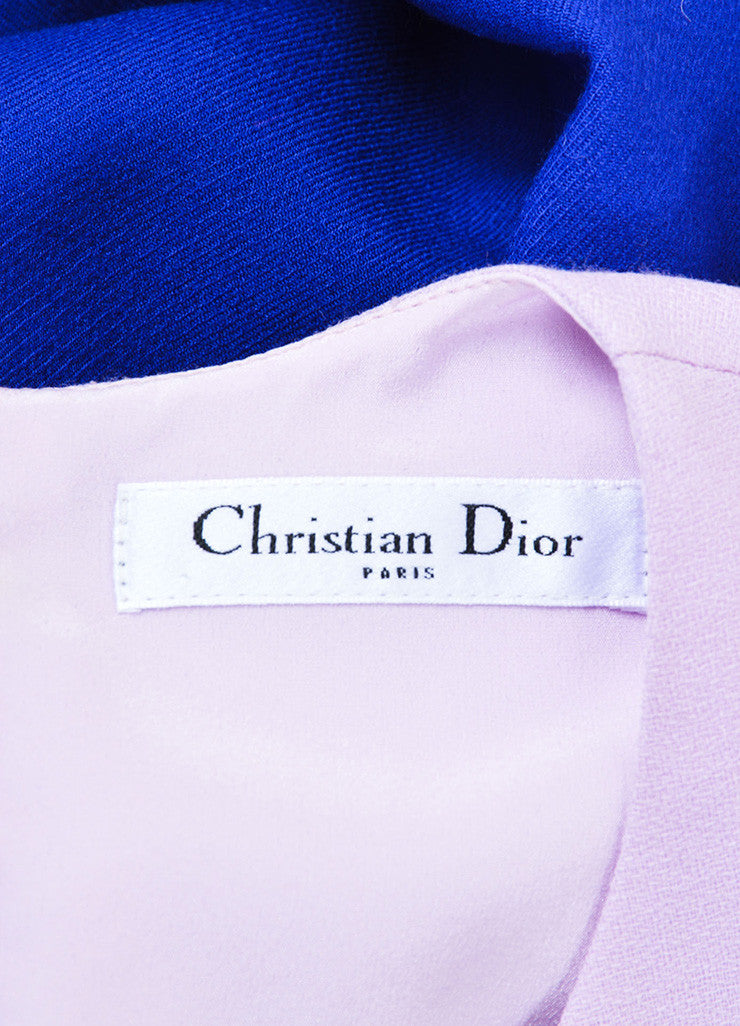 Christian Dior Blue and Pink Off Shoulder Crepe Wool Sheath Dress Brand