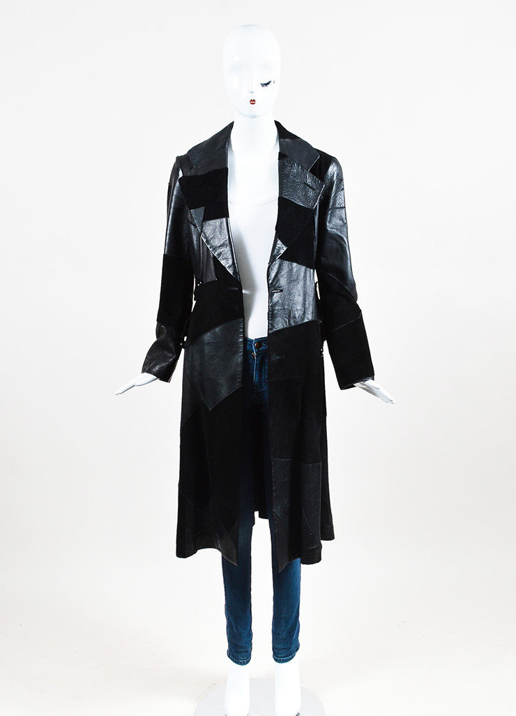 Comme de Garcons Black Leather Suede Patchwork Coat Frontview