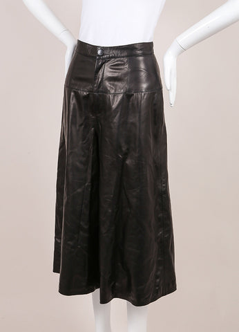 Crippen New With Tags Black Leather Culotte Shorts Sideview