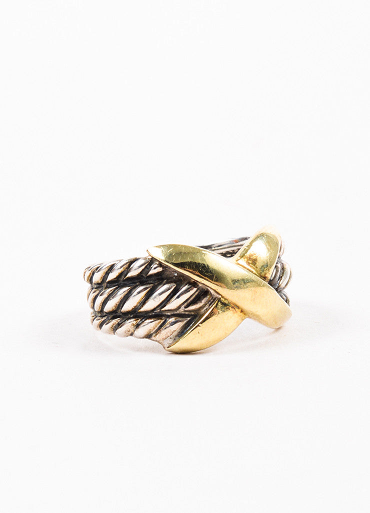 "David Yurman 14K Yellow Gold and Sterling Silver ""Triple Row X Collection"" Ring Sideview"