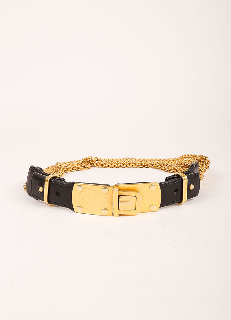 Donna Karan Black Leather and Gold Toned Multi Chain Belt Frontview