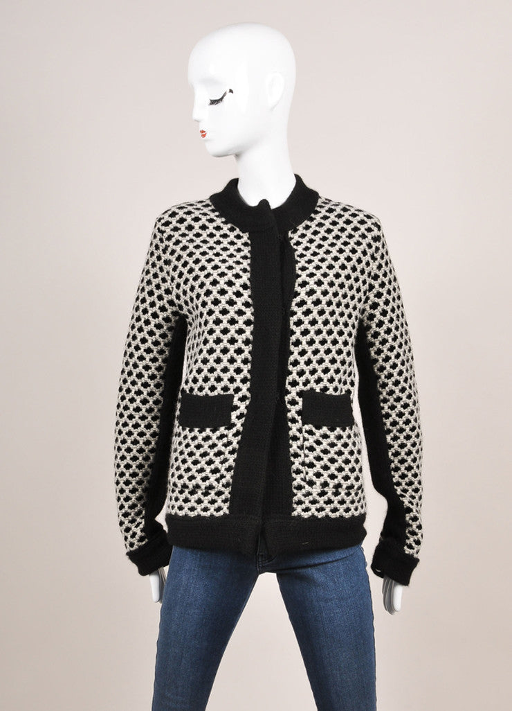 Etro New With Tags Black and White Wool Blend Woven Pattern Sweater Cardigan Frontview