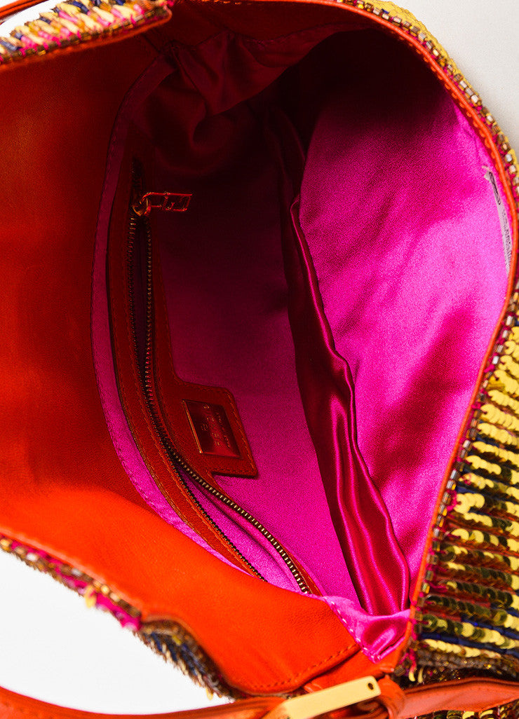 "Fendi Red Gold Tone Leather Sequined Beaded ""Baguette"" Bag Detail 4"