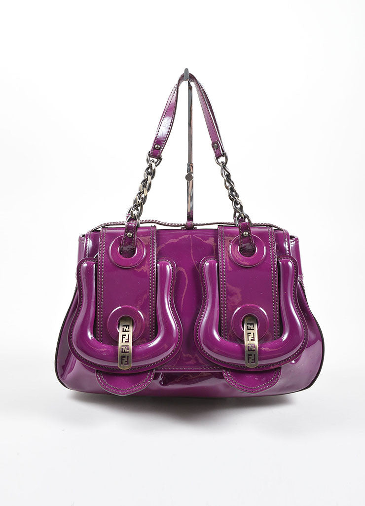 "Fendi Purple Patent Leather ""B"" Double Buckle Flap Bag Frontview"