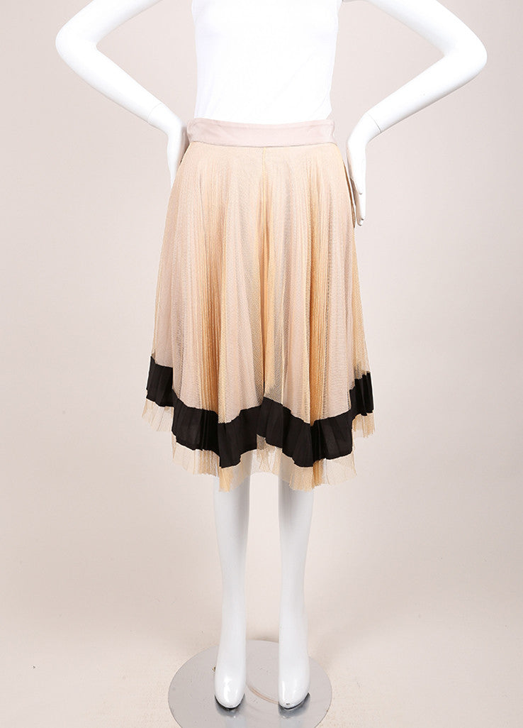 Fendi Beige, Tan, and Black Silk Mesh Pleated Skirt Frontview