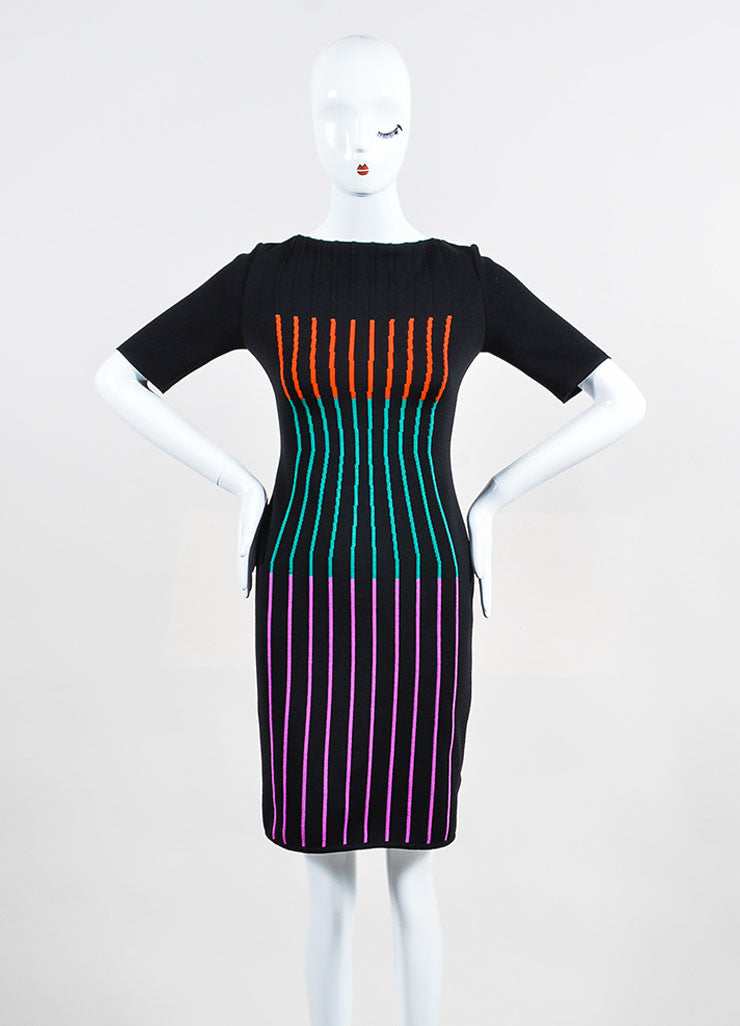 Black and Multicolor Fendi Wool Blend Knit Striped Short Sleeve Sheath Dress Frontview