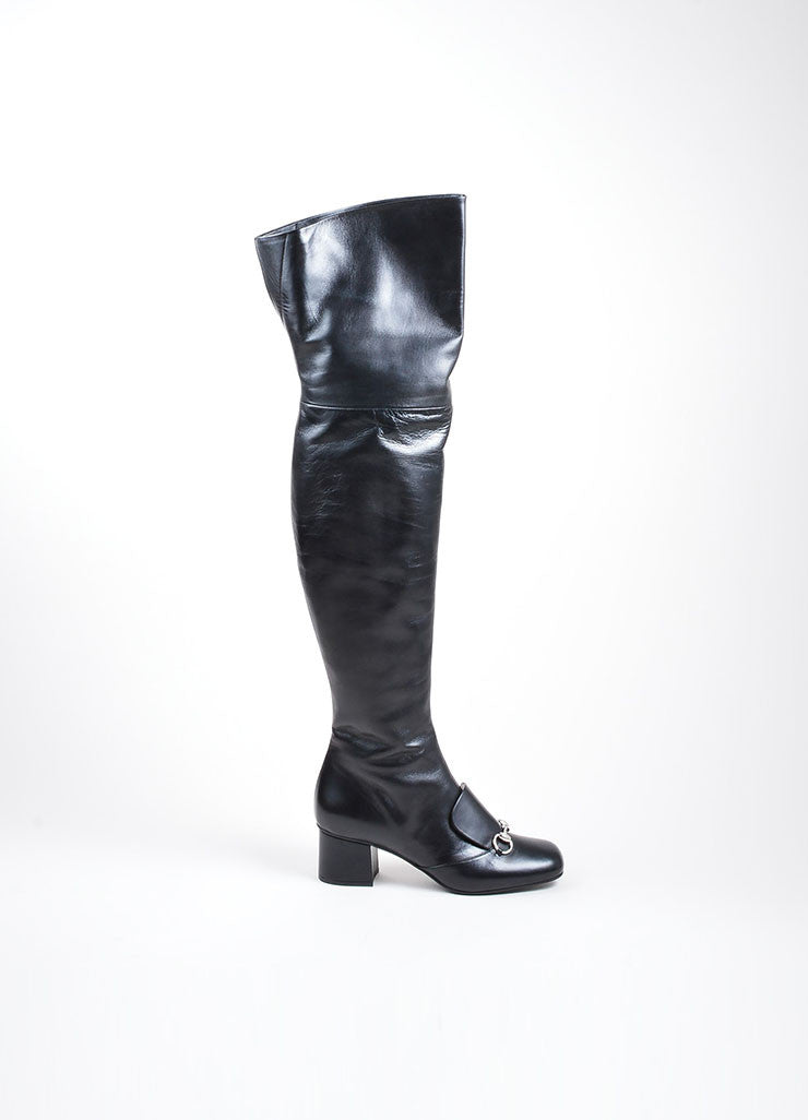 "Black and Silver Toned Gucci Leather ""Charlotte 55mm"" Knee High Boots Sideview"