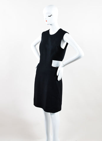 "Black and White Leather and Wool Blend ""Flex Suit"" Dress Side"