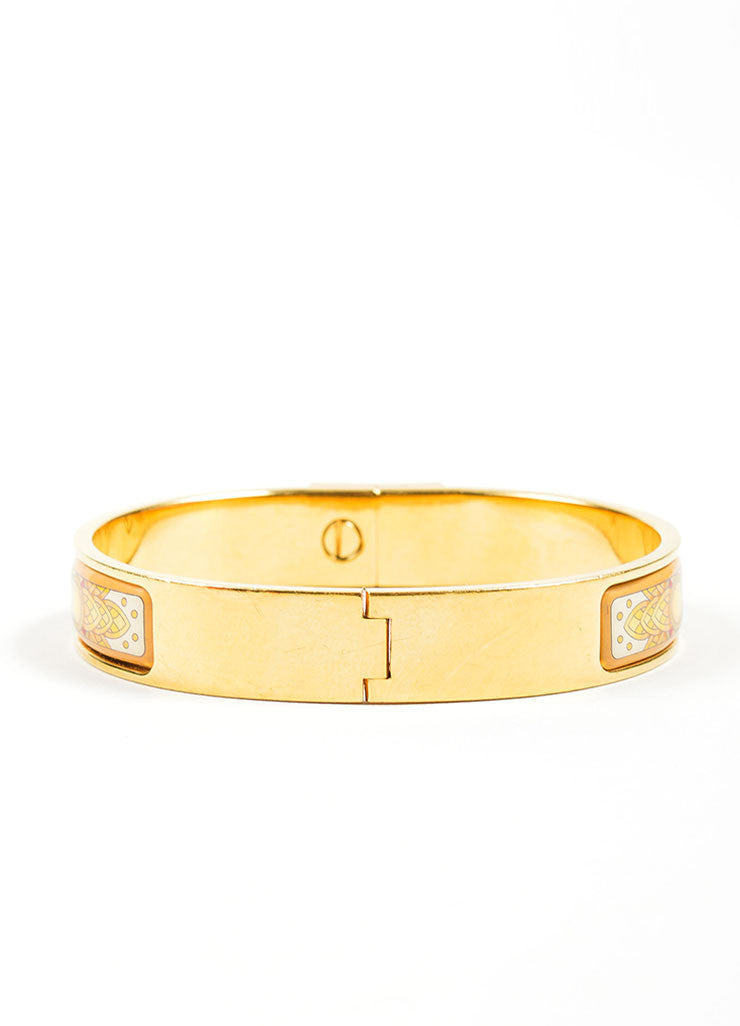 "Gold Toned and Yellow Hermes Printed Enamel ""Loquet"" Hinge Bangle Bracelet Backview"