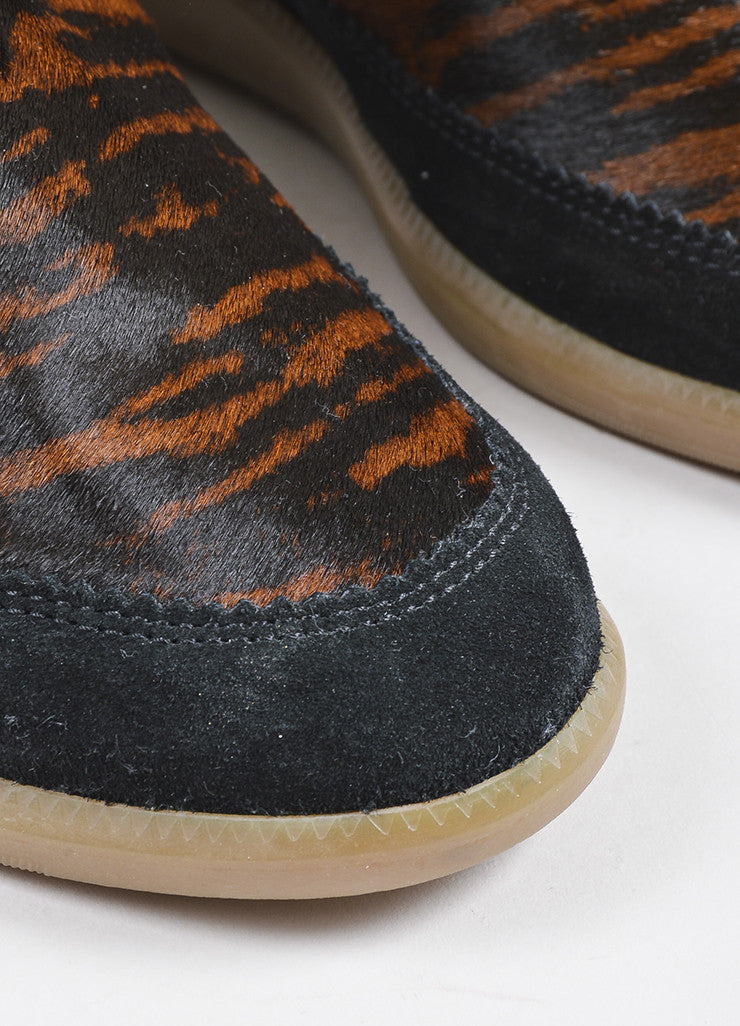 Isabel Marant Black Brown Suede Pony Hair Tiger Print Wedge Ankle Booties Detail
