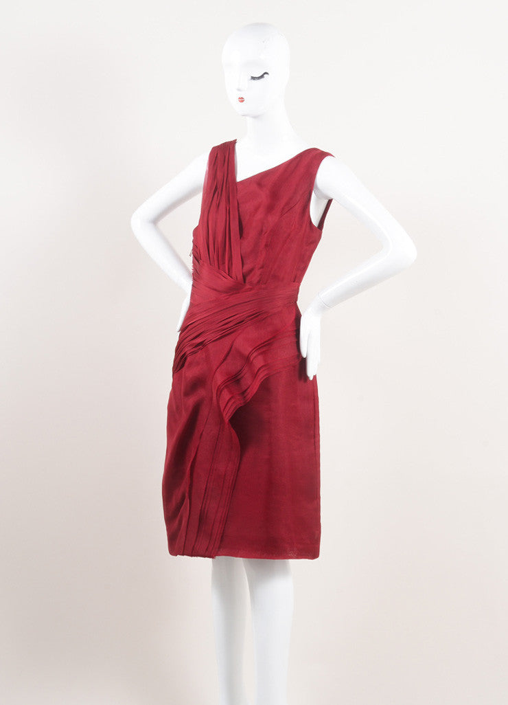 J. Mendel New With Tags Red Silk Pleated Sleeveless Sheath Dress Sideview