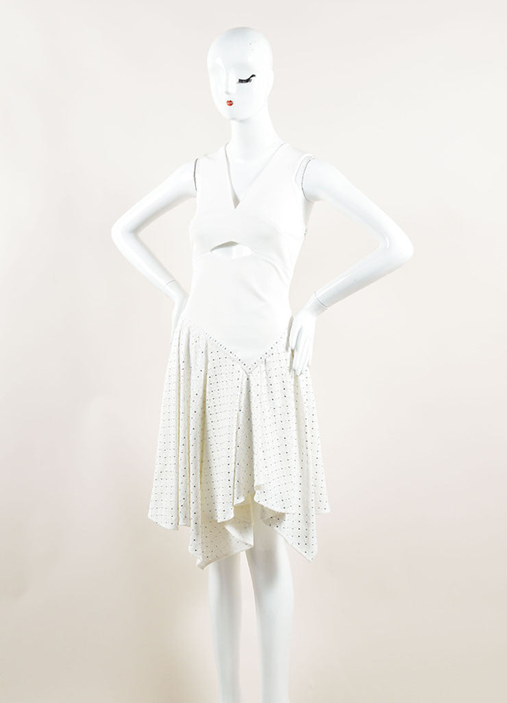 Jay Ahr White Eyelet Studs Asymmetrical Cut Out Sleeveless Dress Sideview
