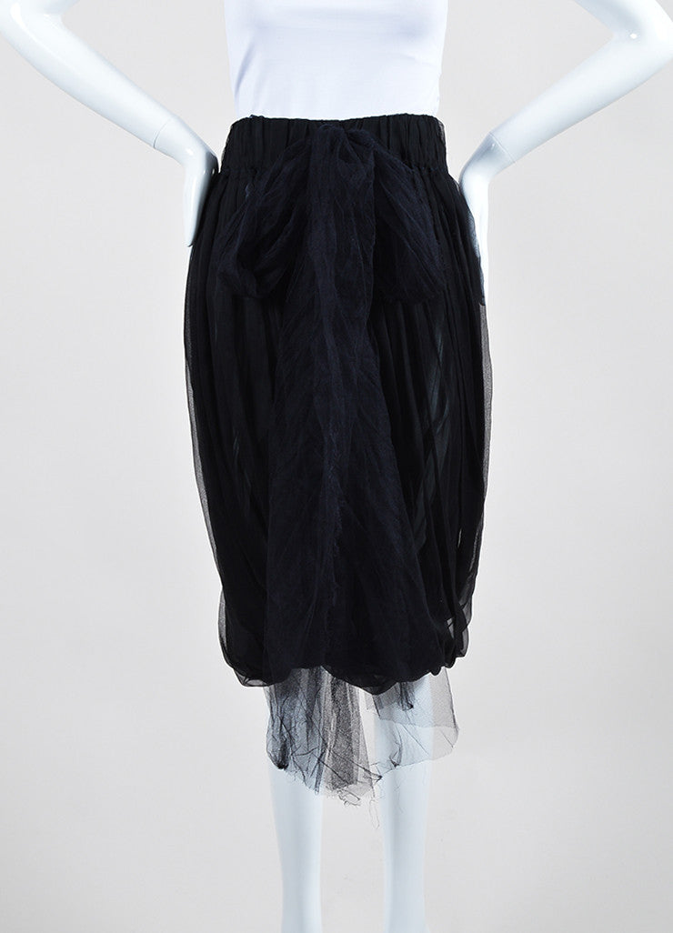 Black Lanvin Silk Chiffon Pleated Long Mesh Tie Bubble Skirt Frontview