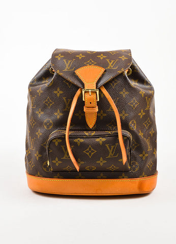 "Louis Vuitton Brown Canvas Monogram Drawstring ""Montsouris MM"" Backpack Frontview"