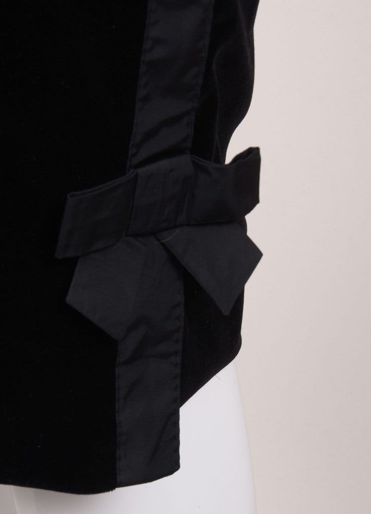 Louis Vuitton Black Velvet Bow Ribbon Trim Pencil Skirt Detail