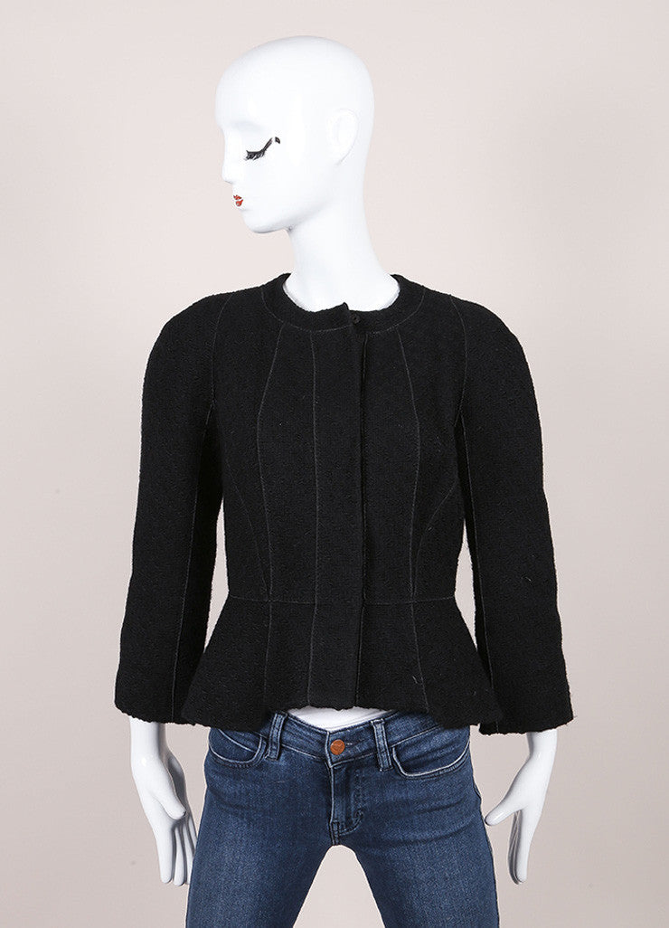 Louis Vuitton Black Wool Woven Textured Button Down Peplum Jacket Frontview