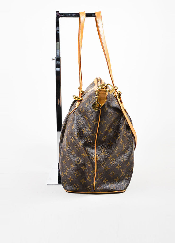 "Louis Vuitton Brown Coated Canvas Monogram ""Palermo GM"" Tote Bag Sideview"