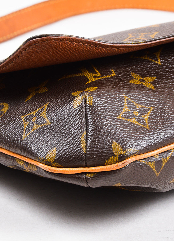"Louis Vuitton Brown and Tan Coated Canvas Leather Monogram ""Musette Tango"" Bag Detail"