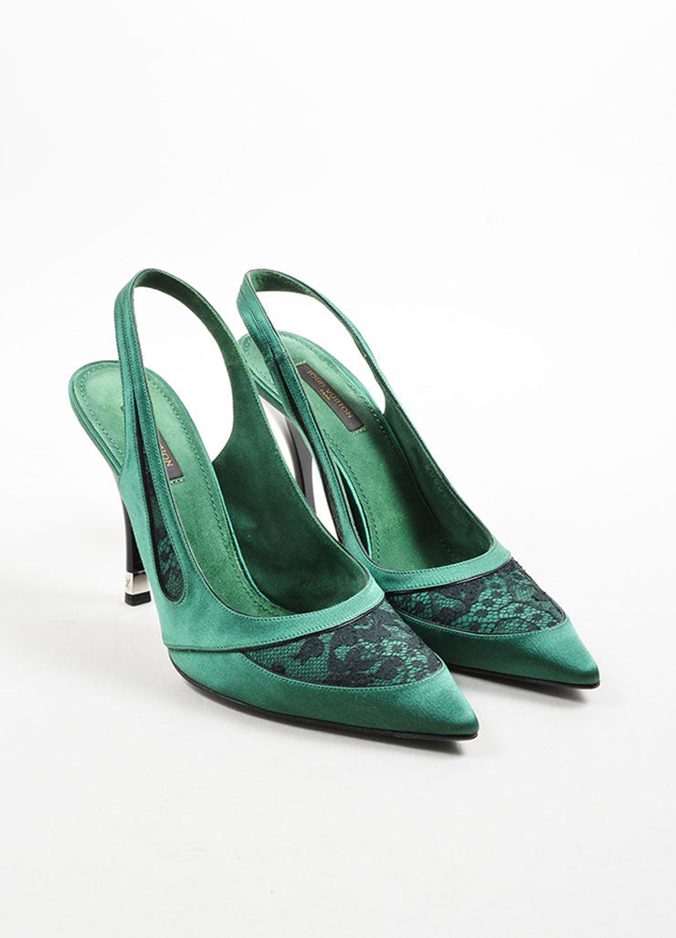 Louis Vuitton Green Lace Pointed Toe Slingback Pumps Front