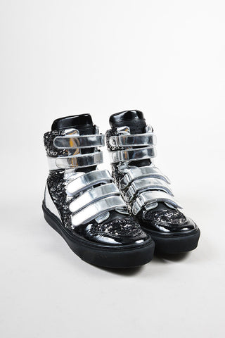 Metallic Silver and Black Louis Vuitton Leather Sequined High Top Sneakers Frontview