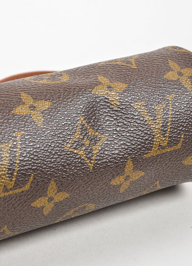 "Louis Vuitton Tan and Brown Coated Canvas Monogram ""Mini Papillon Pochette"" Bag Bottom View"
