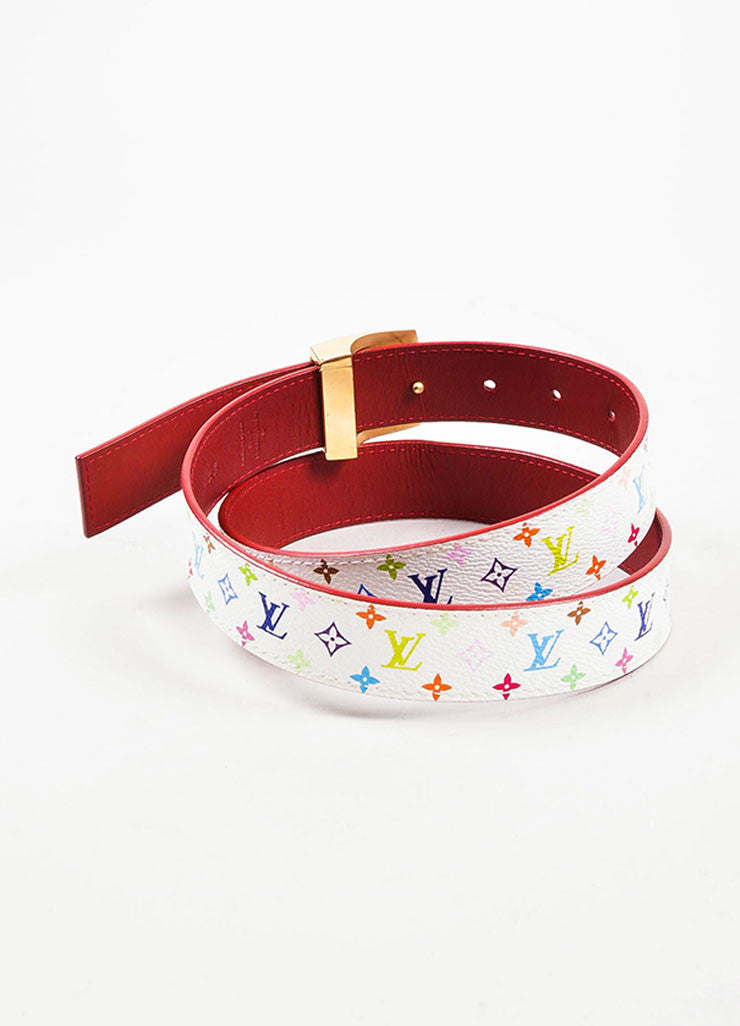 Louis Vuitton White Monogram Multicolore 30mm Reversible Belt Backview