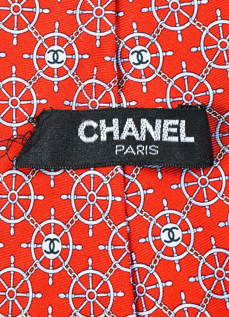 Men's Chanel Red Blue Multicolor Silk Twill Boat Wheel Print Neck Tie Brand