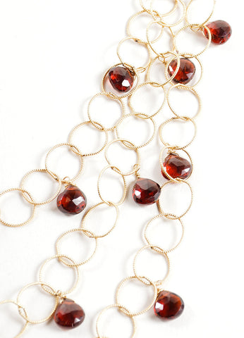 Mabe Gold Filled Rings Garnet Drops Layered Delicate Necklace Detail
