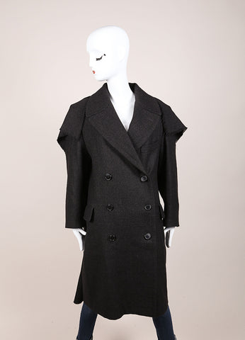 Maison Martin Margiela Dark Grey Wool Tweed Double Breasted Long Coat Frontview