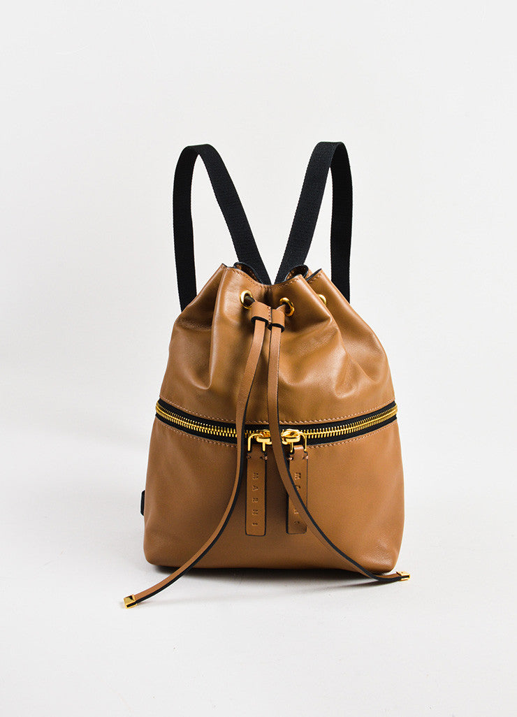 Marni Tan Leather Zip Detail Drawstring Bucket Backpack Bag Frontview