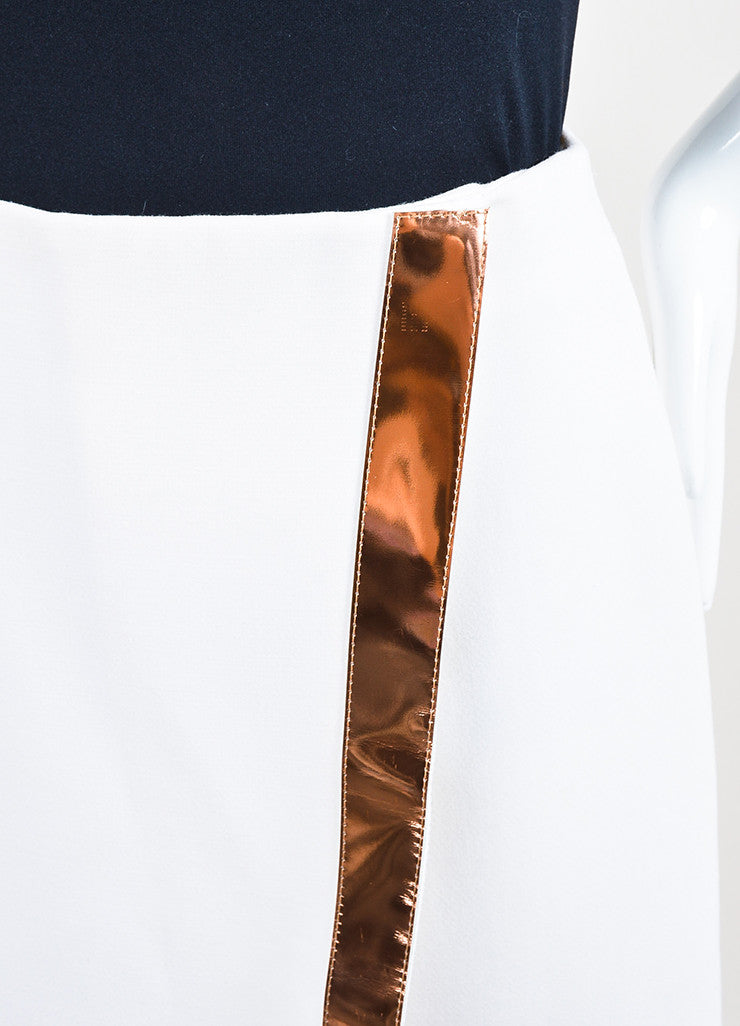 Mugler White Copper Trim Wool Crepe Wrap Skirt Detail