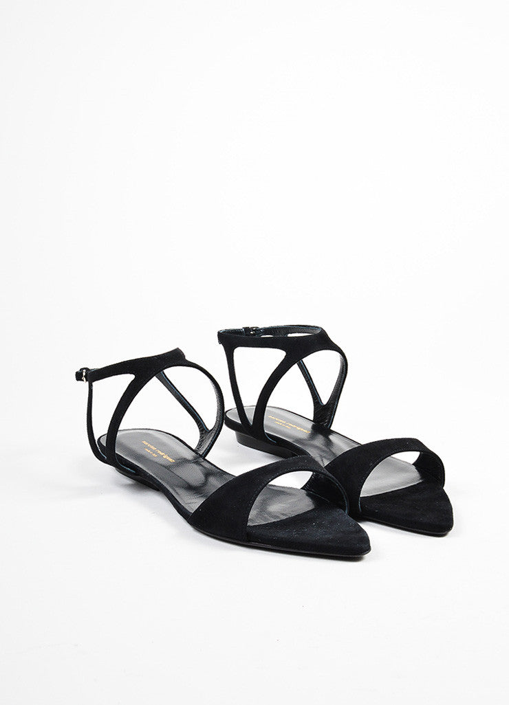 "Black Suede Narciso Rodriguez ""Carolyn"" Flat Sandals Frontview"
