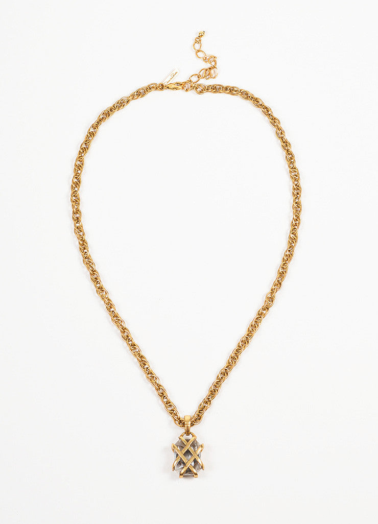 Antiqued Gold Toned Oscar de la Renta Rhinestone Gem Caged Pendant Necklace Frontview