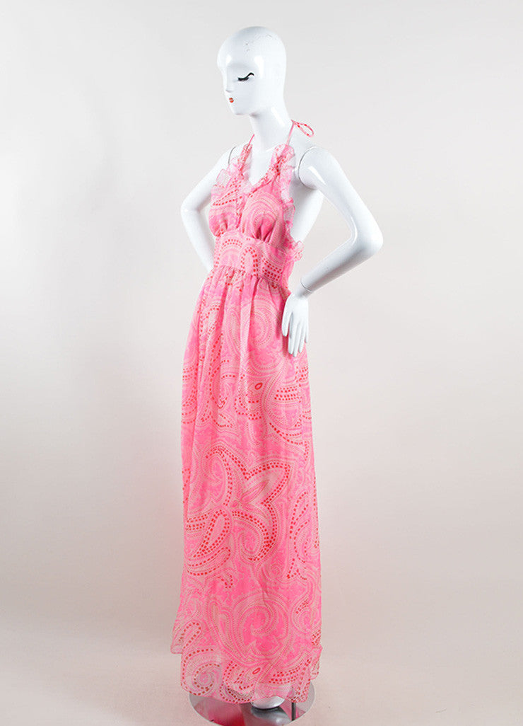 Oscar de la Renta Pink and Red Silk Paisley Print Halter Maxi Dress Sideview