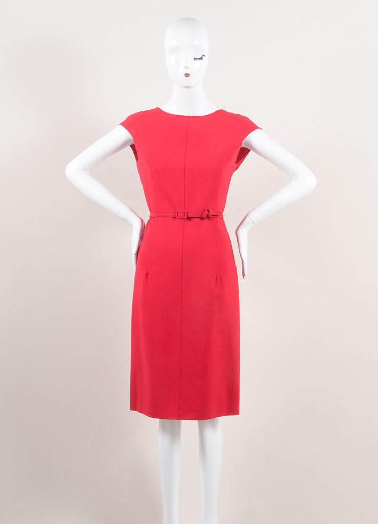 Oscar de la Renta New With Tags Red Stitched Side Ruffle Back Wool Sheath Dress Frontview