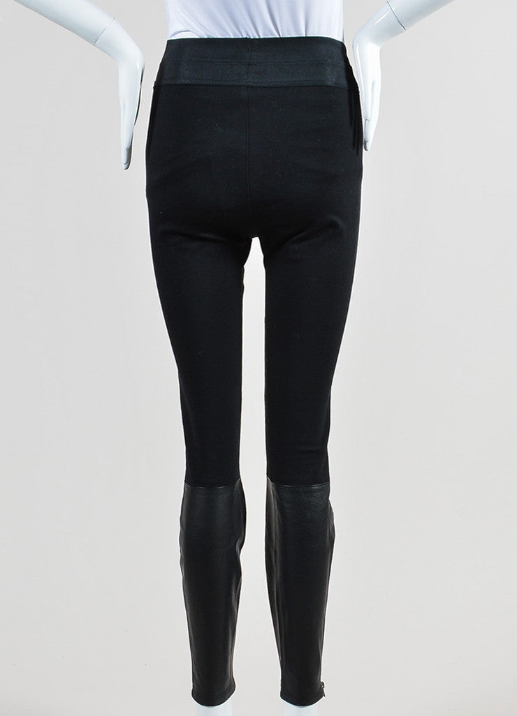 Black Paige Stretch Knit Leather Paneled Skinny Legging Pants Backview