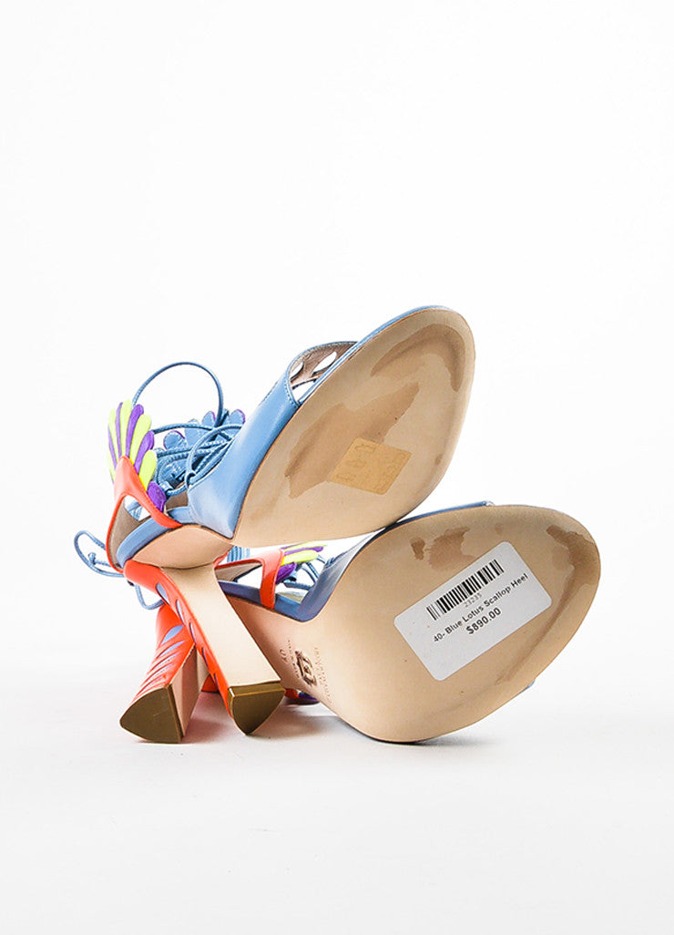 "Paula Cademartori Blue and Pink Leather Suede ""Lotus"" Sandals outsoles"