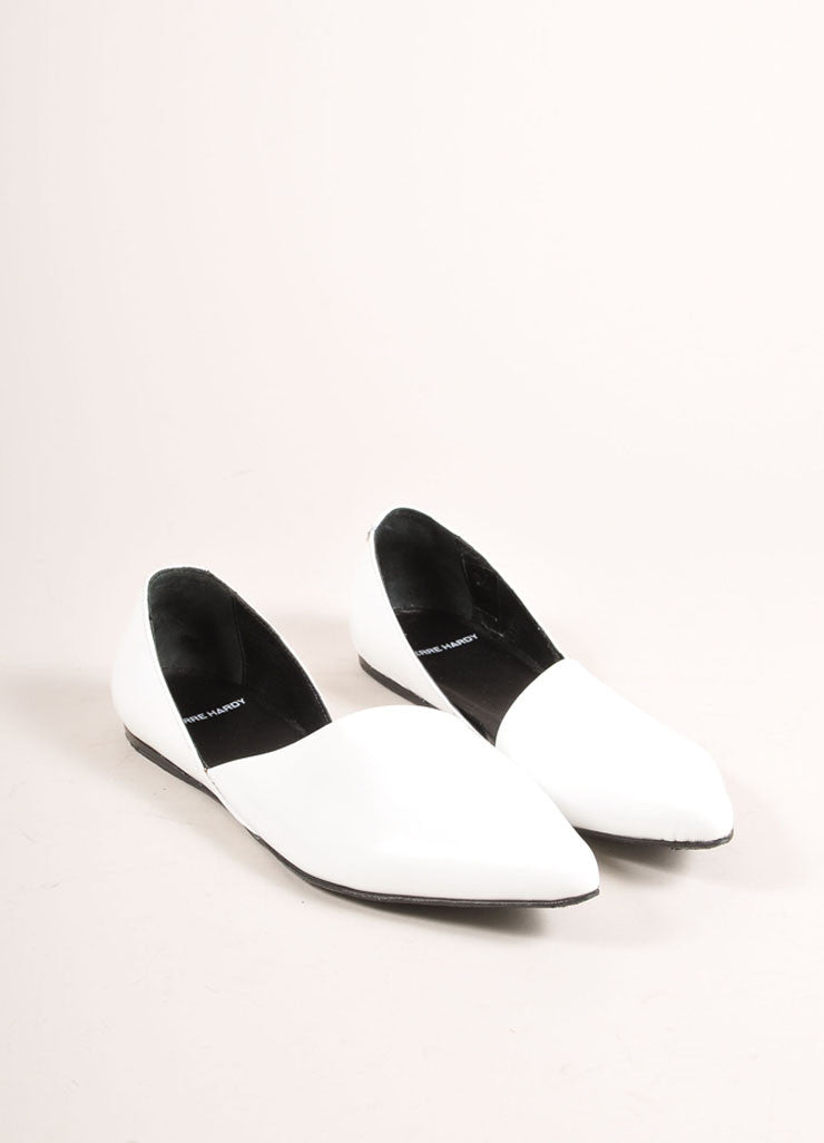 Pierre Hardy White Patent Leather Pointed Toe D'Orsay Flats Frontview