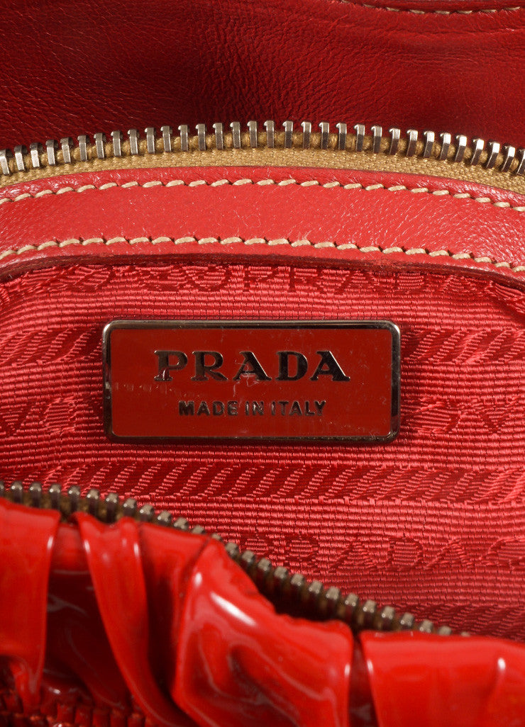 "Prada Red Patent Leather ""Rosso Vernice Gaufre"" Satchel Shoulder Bag Brand"